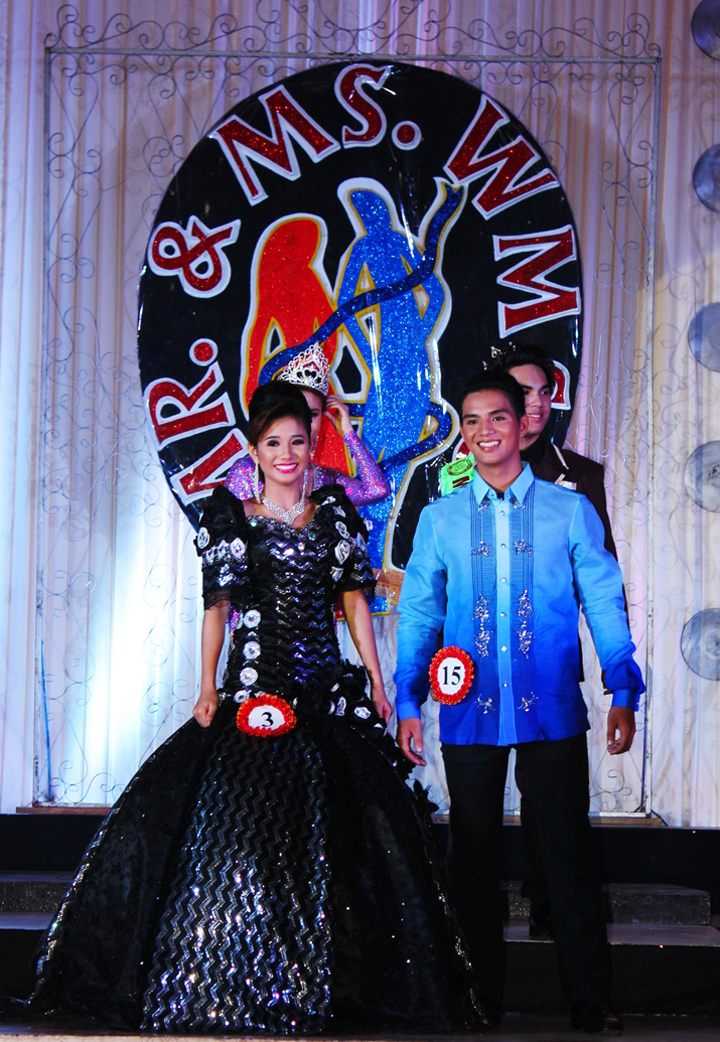 The Mr. and Ms. WMSU 2013 with their Mascotta and Barong terno.