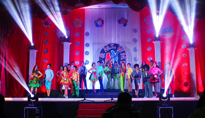 The candidates of the Mr. and Ms. WMSU 2013 flaunting their Retro-inspired outfits during the production number.