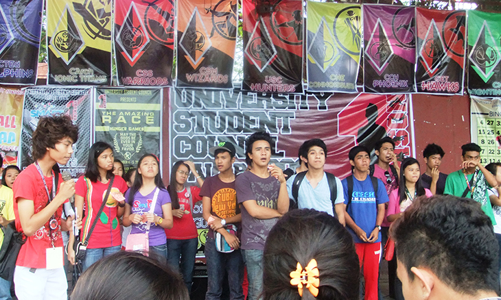 Students of the Western Mindanao State University gather on stage for the Juan for All, All for Juan activity hosted by the University Student Council.