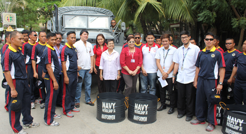 WMSU officials and student representatives posed with the naval forces of the Civil Military Operations Unit.