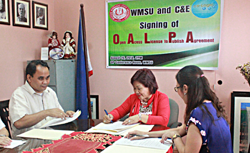 Dr. Milabel Enriquez-Ho, WMSU President (center), and C & E representative, Ruby Ann Sierra (right) inked the MOA, witnessed by University Legal Officer, Atty. Jules Christian Marcos (left).