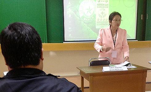 Dr. Eden G. Aquino, WMSU faculty member, presents her paper before other language educators in the conference.