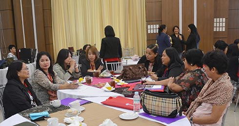 Women presidents of different SUCs discussing and sharing notions during the three-day seminar  held at the Royce Convention, Grand Astoria Hotel, this City.