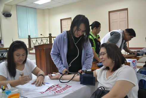 Donors are given a free wellness checkup which includes blood pressure, pulse, temperature and cholesterol screening.