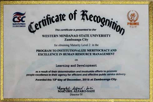 Certificate of Recognition for obtaining Maturity Level II in the PRIME-HRM on LEARNING AND DEVELOPMENT