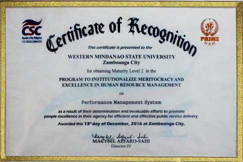 Certificate of Recognition for obtaining Maturity Level II in the PRIME-HRM on PERFORMANCE MANAGEMENT SYSTEM