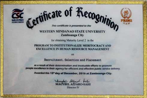 Certificate of Recognition for obtaining Maturity Level II in the PRIME-HRM on RECRUITMENT, SELECTION AND PLACEMENT