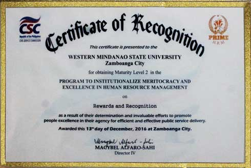 Certificate of Recognition for obtaining Maturity Level II in the PRIME-HRM on REWARDS AND RECOGNITION