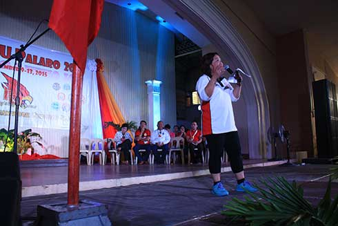 WMSU President, Dr. Milabel Enriquez-Ho welcoming the delegates of this year's University Palaro during the opening ceremony held at the Juanito Bruno Gymnasium, this University.